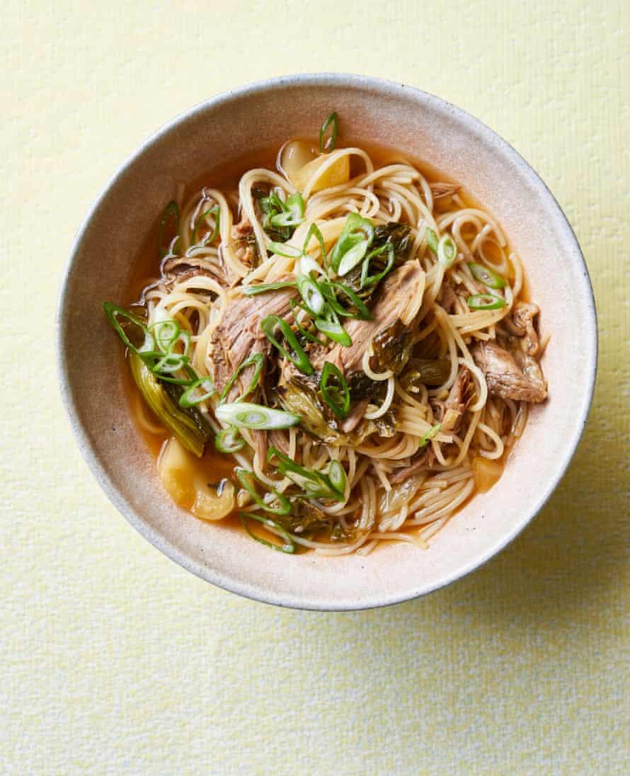 Erchen Chang's duck man mei noodles.