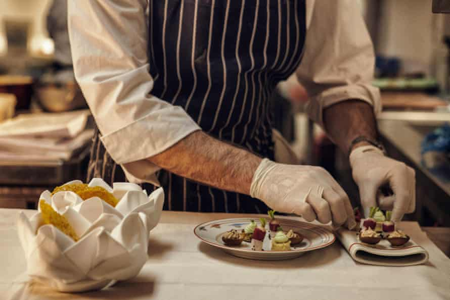 Cheffy challenge ... Joni Francisco, chef de partie, prepares a dish during lunch Gauthier Soho in London.