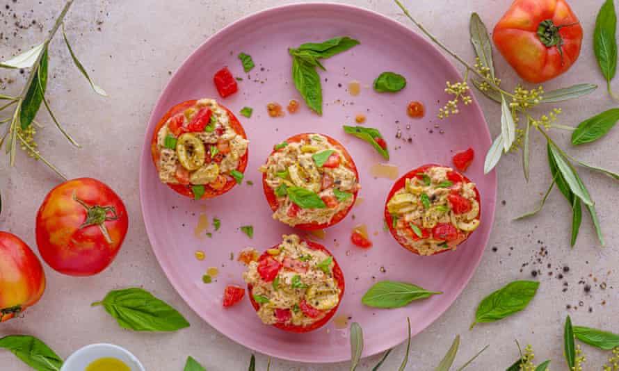 Alfresco favourites: tuna-stuffed tomatoes.