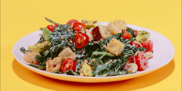 Kale Crunch Salad With Avocado and Sourdough Croutons