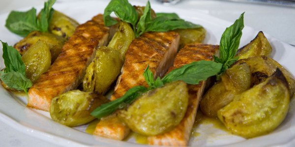 Grilled Salmon with Roasted Green Tomatoes