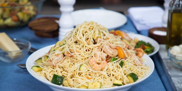 Warm Grilled Shrimp and Heirloom Cherry Tomato Linguine