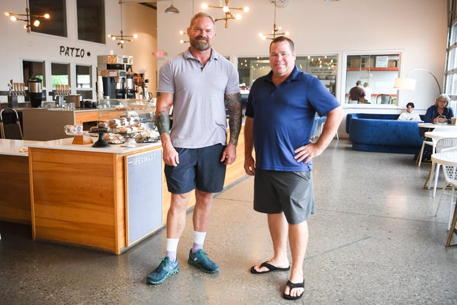 Honeybee Coffee owner Norris Hill (left) is partnering with brewer Steve Dedman to bring a beer production facility to the company's West Knoxville location. This weekend, people at Knoxville Brewfest will be able to try what Honeybee Coffee & Beer could have in store, including the Latitude Adjustment lager and the Loveville Amber.