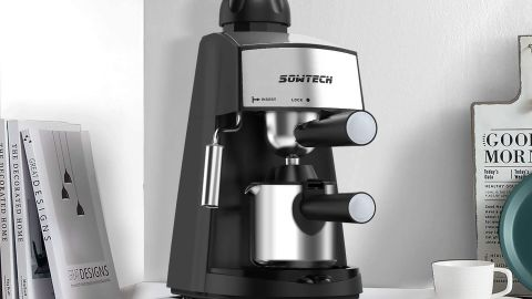 Sowtech 4-Cup Espresso Maker With Steam Milk Frother