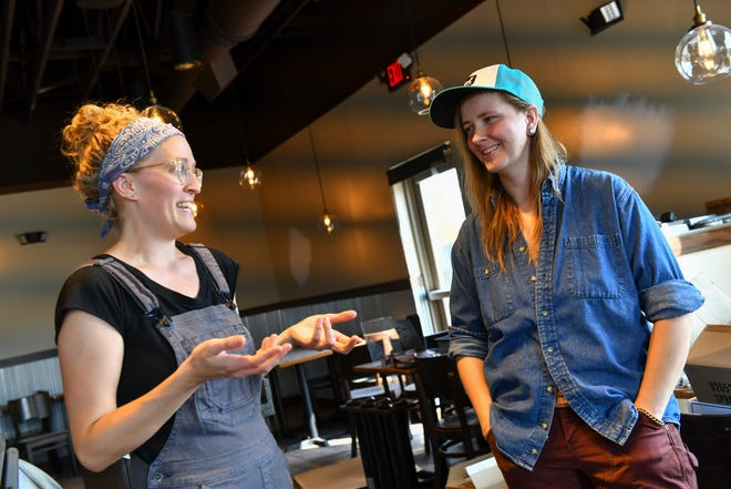 Laura Wolfram and Kayla Adams talk about plans for the new Corvus Bakeshop location during an interview Monday, Aug. 16, 2021, in Sartell.