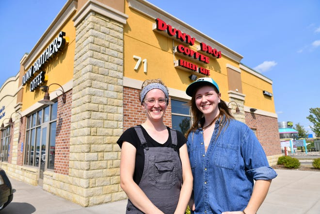 Laura Wolfram and Kayla Adams stand next to the new location for Corvus Bakeshop Monday, Aug. 16, 2021, in Sartell.